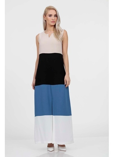 Vitrin Colorblock Sıfır Kol Elbise Siyah
